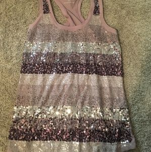 Express pink sequin tank. Small